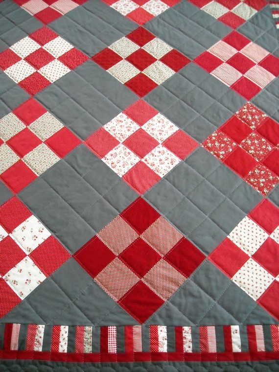 Nine Patch Quilt by piecemakersogden on Etsy