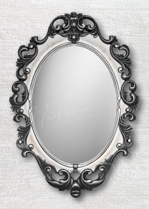 Овальное зеркало «Винтажное» Черный Белый Серебро Кракелюр