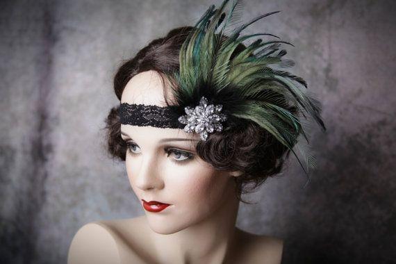 Flapper Headband-Feather Headband-1920's-Gatsby by Petalprops