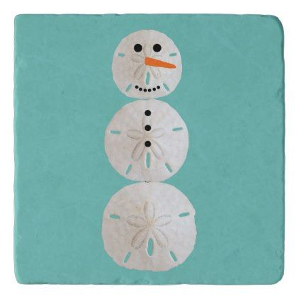 Sand Dollar Snowman Trivet - winter gifts style special unique gift ideas