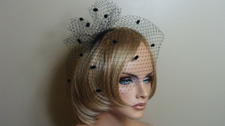 Black Birdcage Veil with Bow Russian French Netting with Chenille Dots