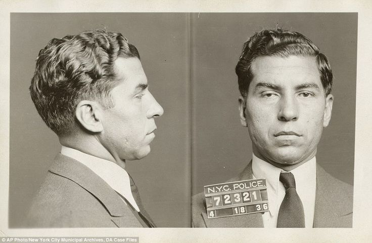 Notorious: This is the original April 18, 1936 booking photo for Charles 'Lucky' Luciano. Luciano is considered the father of organized crime in New York and was the first to divide the city sections controlled by five mob families