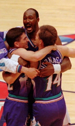 Stockton for three...its good. The Utah Jazz are going to the NBA finals.