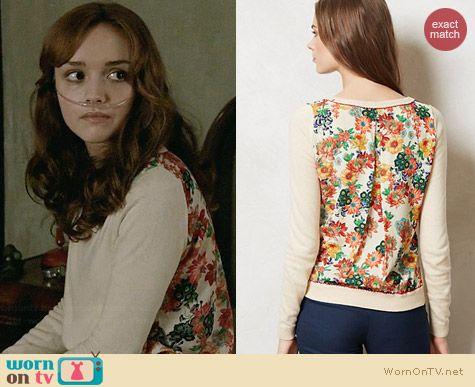 Emma's floral back sweater on Bates Motel.  Outfit Details: http://wornontv.net/31972/ #BatesMotel