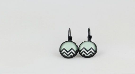 Green Stripe Drop Earrings - 12mm Drop Earrings - Cabochon Earrings - Geometric Earrings - ZigZag - Black and White - Statement Earrings