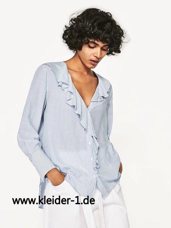 Damen Bluse in Blau mit Weisse Streifen