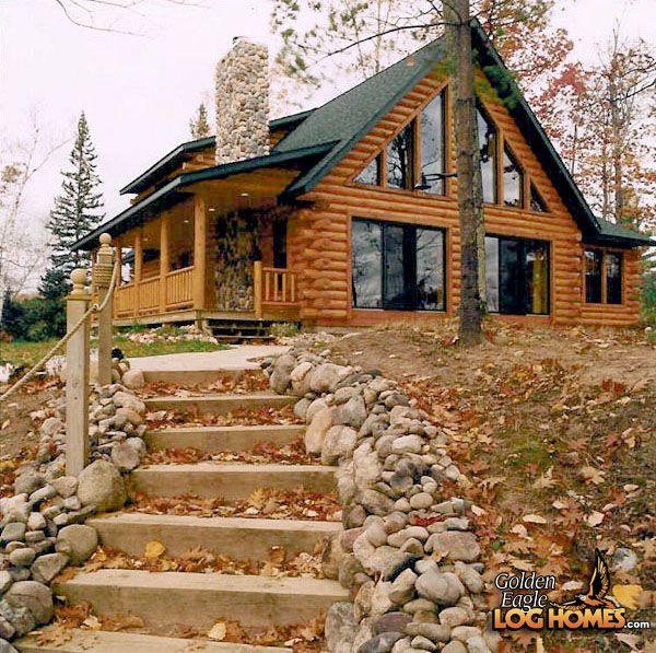 Log Home By, Golden Eagle Log Homes - Exterior View - Custom Plan 2