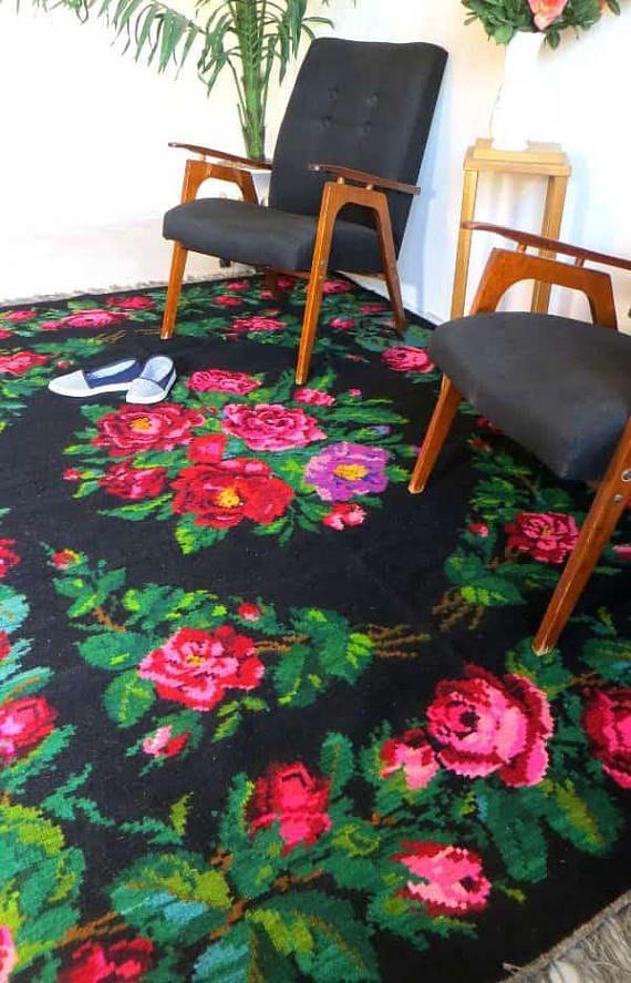 Rozenkelim Bohemien Kelim Teppich Vintage Rose Kilim Rugs Area Rugs