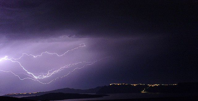 Santorini on a rainy night