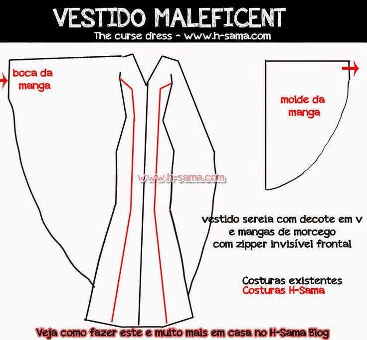 Maleficent Dress Pattern | FIGURINO: Maleficent (2014) - COMO FAZER? cosplay Maleficent, o Filme