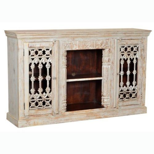 "71"" Hand Carved Mango Wood Glass Display Cabinet Antique Light Grey Distressed- $1,447.00"