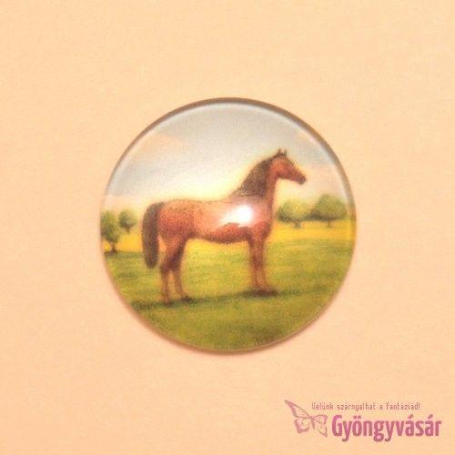 Barna ló mintás, 25 mm-es üveglencse • Gyöngyvásár.hu