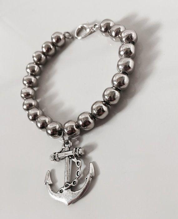 Bracciale con ancora e perline bracciale perle di AnotherLAgrein