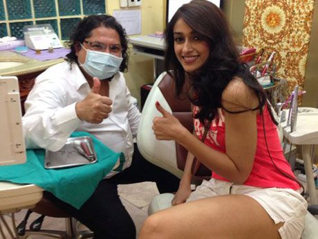 Bollywood Actress Ileana D'Cruz at Dr. Sunil International Dental Clinic in Bangkok, Thailand
