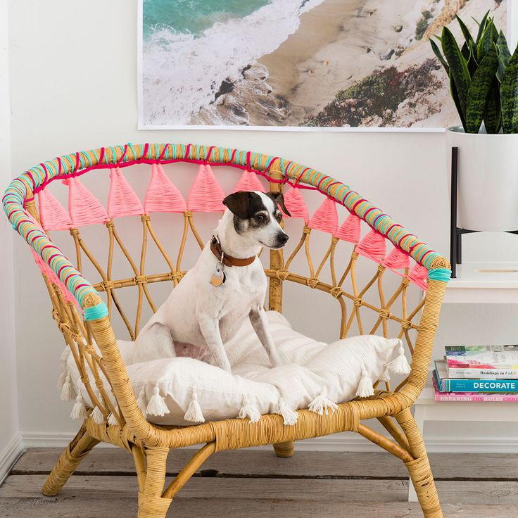 Look @britco for this amazing hack on this #rattanchair. LOVELY! Follow the #diydecor https://www.brit.co/ikea-hack-rattan-chair/