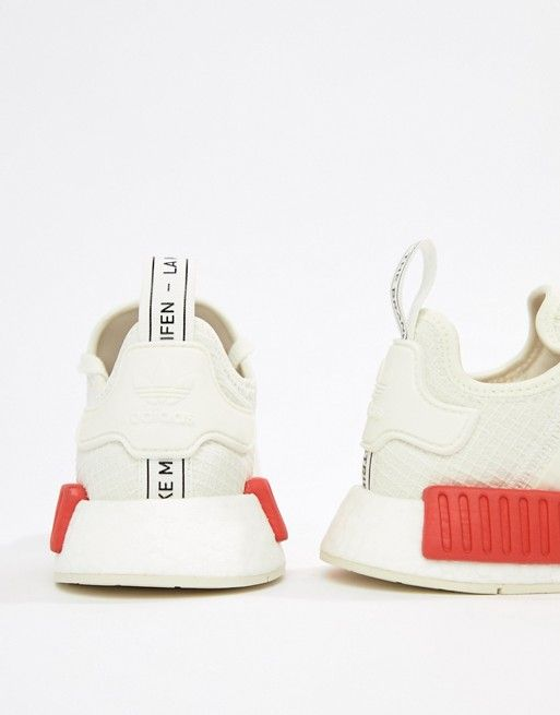 ee06e5a32 adidas Originals Nmd R1 Sneakers In White With Red Heel Block in ...