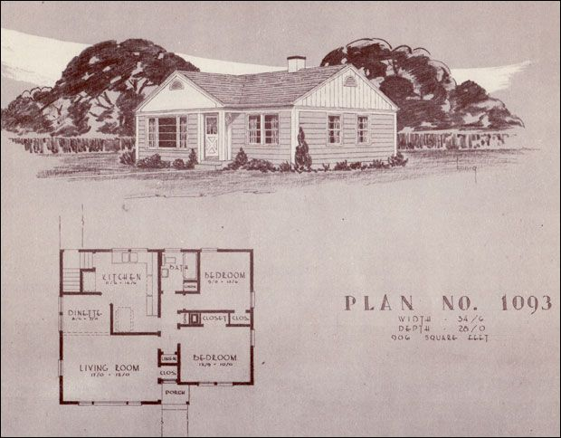 post war style | ... Traditional Home Plans - 1940s Post-war House Design - No. 1093