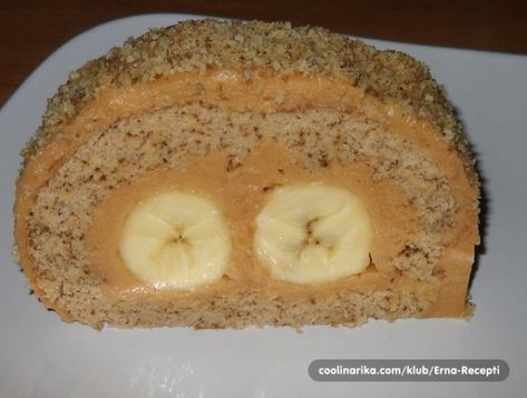 Karamelová roláda s banánem
