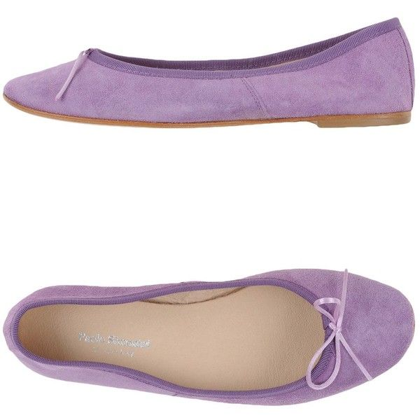Paolo Simonini Ballet Flats ($146) ❤ liked on Polyvore featuring shoes, flats, purple, leather sole shoes, ballerina shoes, ballet pumps, leather ballet flats and leather shoes