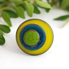 """Bague réglable en céramique collection """"les confettis"""" vert pomme bleu canard vert"""