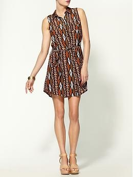 Tribal shirt dress. Would look good with flat sandals or wedges.