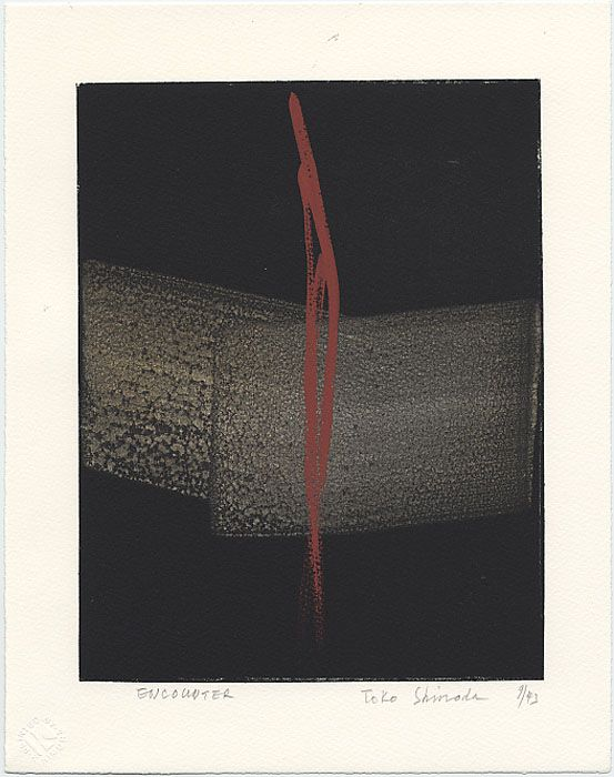Toko Shinoda Title 												Encounter Medium  Sumi-e drawing on a Lithographic Background Here.