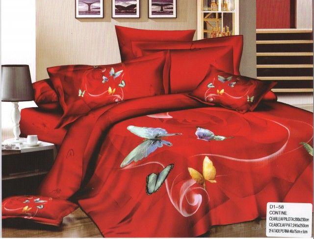AlyShop: Lenjerie pentru pat dublu din bumbac satinat rosie cu fluturi