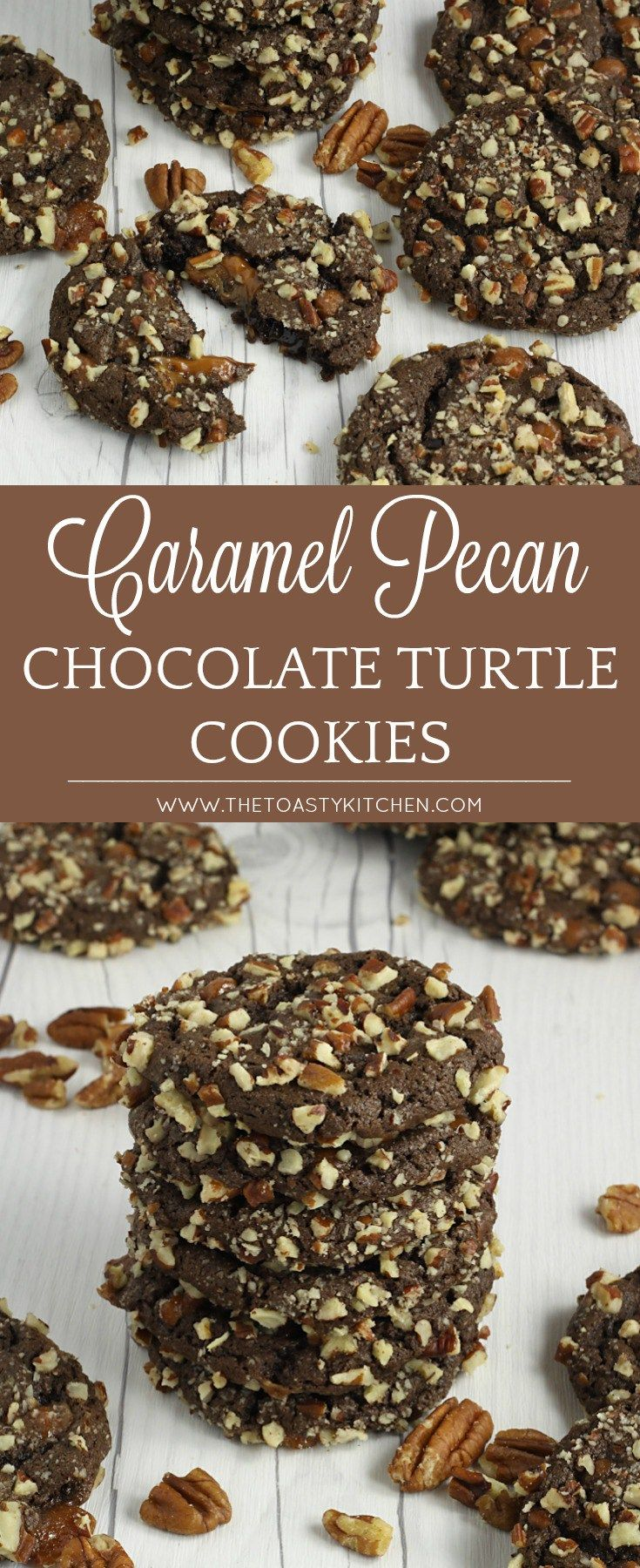 Caramel and Pecan Chocolate Turtle Cookies by The Toasty Kitchen