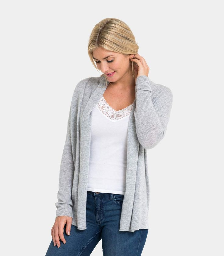 Womens Lightweight Cashmere Edge to Edge Cardigan in Flannel Grey / Style Code: Q31L #Pure #Cashmere