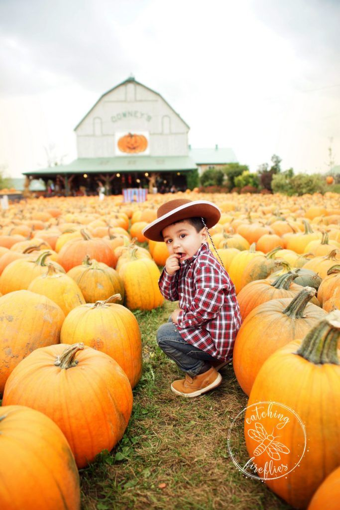 Little cowboy at the pumpkin patch. 2nd birthday celebration at the farm - fall photo shoot . http://www.catchingfireflies.ca/fun-2nd-birthday-photo-session-at-downeys-farm/