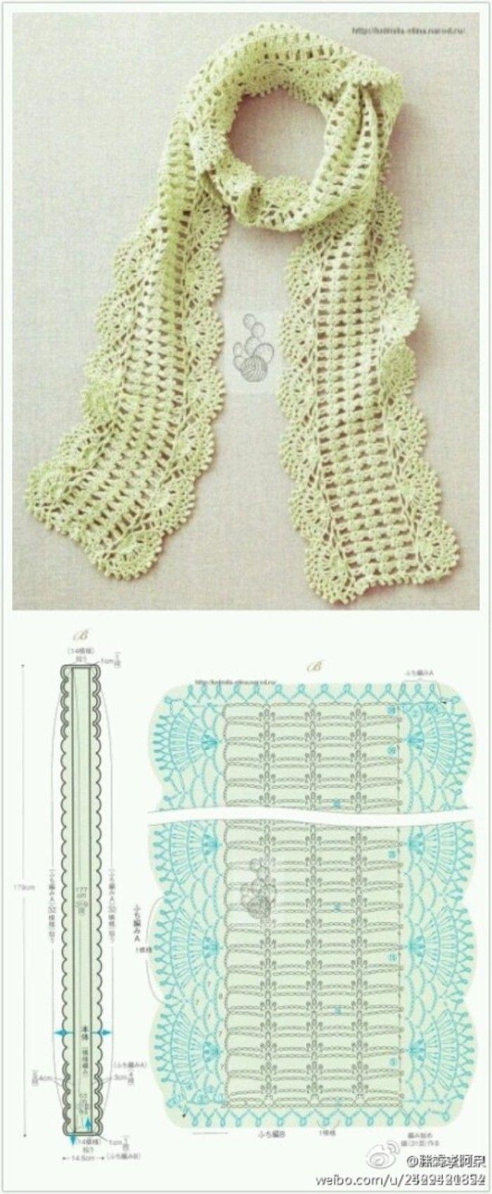 Mejores 77 imágenes de Bufandas diagrama en Pinterest   Crochet ...