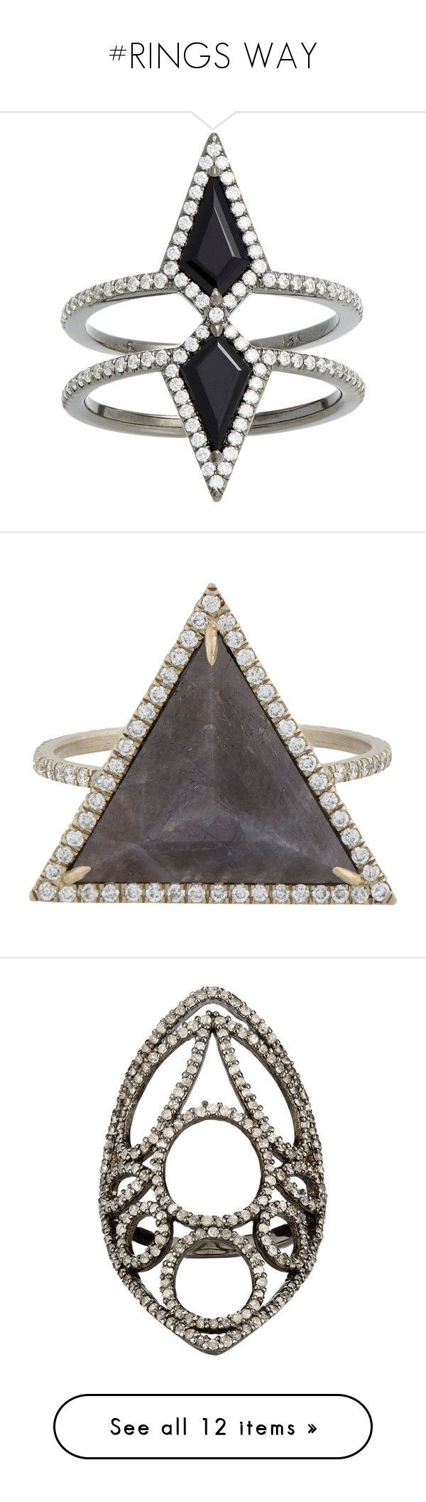 """#RINGS WAY"" by lolgenie ❤ liked on Polyvore featuring jewelry, rings, accessories, sormukset, colorless, geometric rings, 18 karat white gold ring, pave ring, band rings and white gold pave ring"