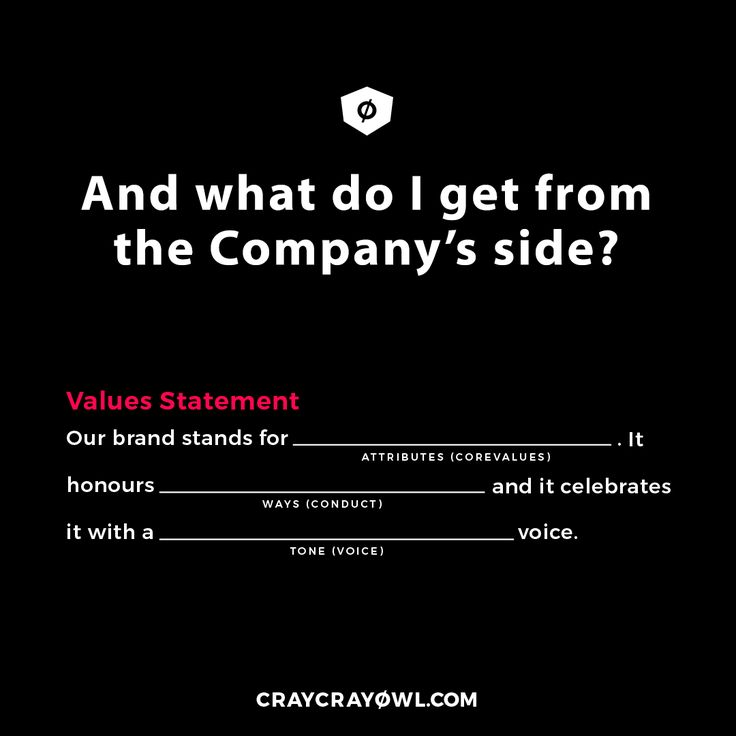 VALUES STATEMENT - From the Company's column, we are able to get the four statements that will help you position your brand, access it's values, establish a mission and root a vision. Now, we are starting to have a brand! . Hurraaaaay! #branding #strategy