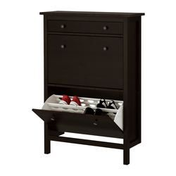 """HEMNES Shoe cabinet with 2 compartments - black-brown, 35x50 """" - IKEA  I think I NEED one of these for the laundry room."""