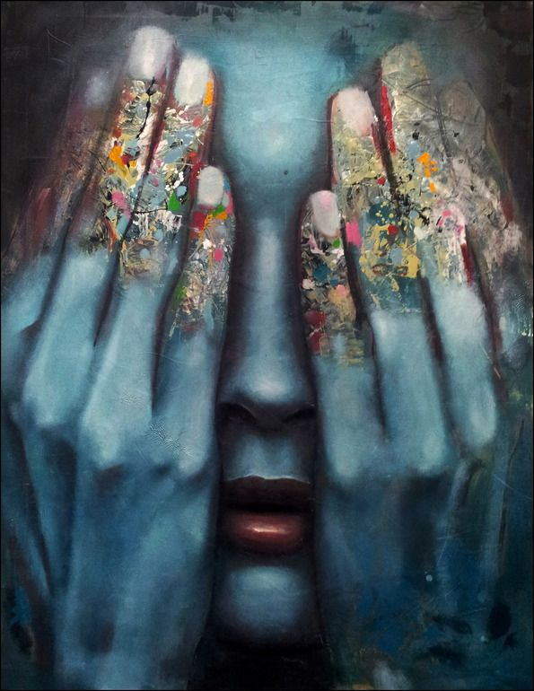 "Artist: Mihail -Miho- Korubin ; Oil, 2012, Painting ""it is over""  #art #Figurative #paintings #figures #faces #portraits #hands #korubin #mihail #oil #canvas"
