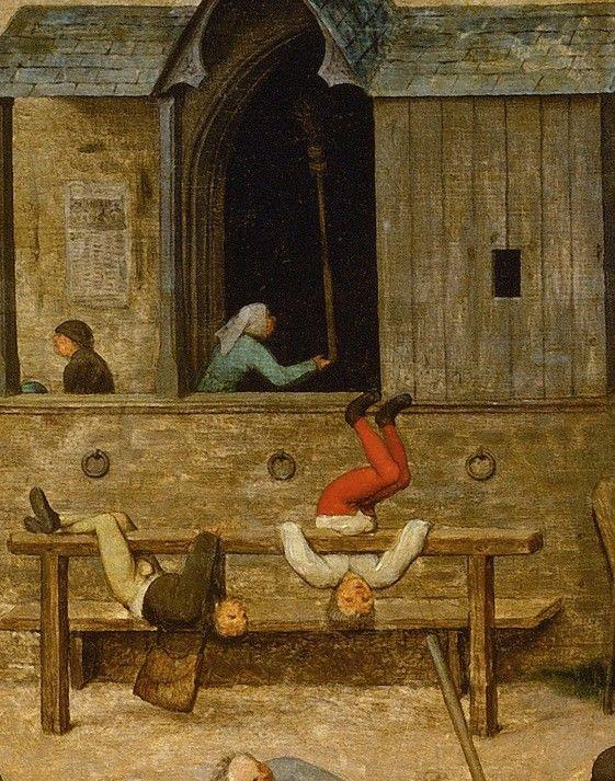 children playing on a horse rail.... Detail from Children's Games, Pieter Bruegel the Elder, 1560