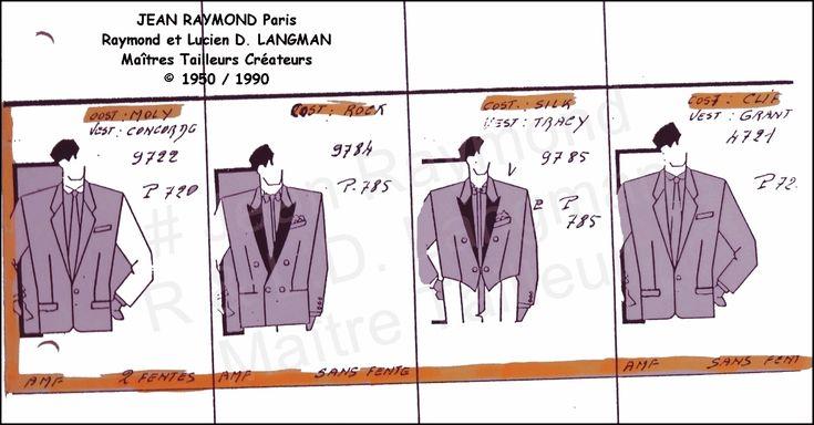JR planche croquis dessins Lucien D. LANGMAN. Année 60/80 par JEAN RAYMOND Maître Tailleur Couturier Créations Raymond et Lucien David LANGMAN.