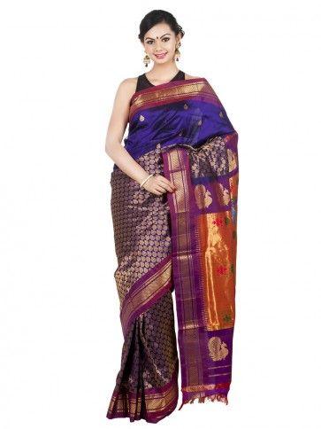 Deep Bluish Purple Half and Half #Paithani.