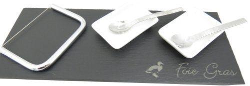 Lebrun 921071 Plat de Service à Foie Gras 6 Pièces Ardoise/Inox/Porcelaine: Utilisation: Trancher et présenter le foie gras à table Contenu…