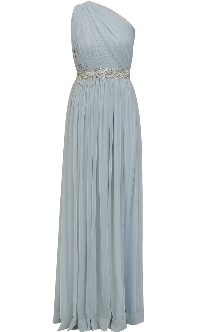 Light blue embroidered rose motifs one shoulder pleated gown available only at Pernia's Pop Up Shop.