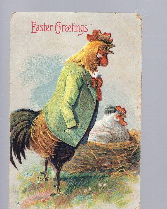 Easter  PostCard   Funny Dressed  Rooster  by sharonfostervintage, $6.50
