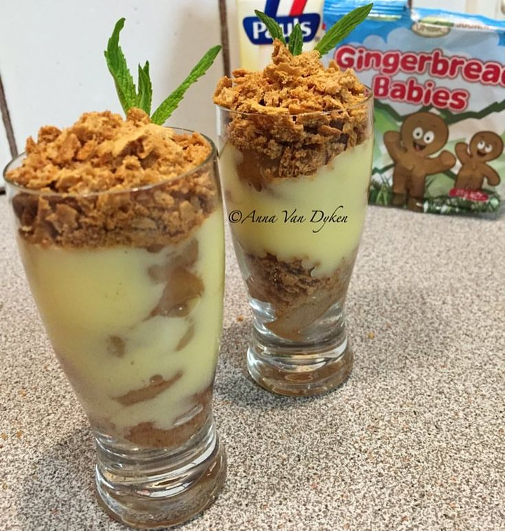 Ginger Pear and Custard Mini Desserts    2 pears, peeled and sliced Pinch of cinnamon 1tsp vanilla Water to cover 1/4 cup Paul's light custard 1 packet of unibic gingerbread babies (they come in a multipack in the biscuit isle)    Poach or stew 2 pears in cinnamon, water...