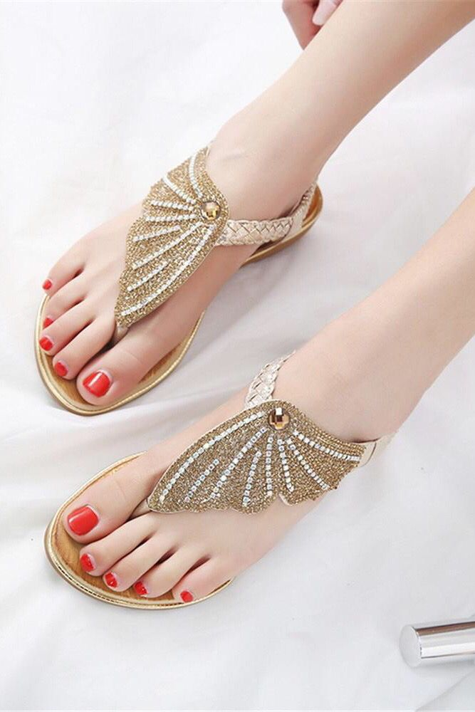 2b048c5f245 Gold women sandals simple sweet rhinestone summer flip flop fashion  comfortable flat shoes for walking. Chic stylish trendy street style outfits  ideas.