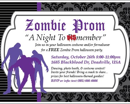 Printable Zombie Prom Halloween Party Invitation