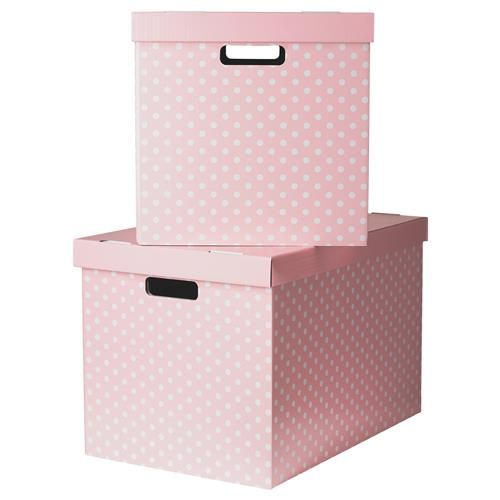 PINGLA Xάρτινο κουτί με καπάκι - IKEA. Και ροζ και πουά! Επειδή κατά βάθος είσαι ένα μικρό κορίτσι!