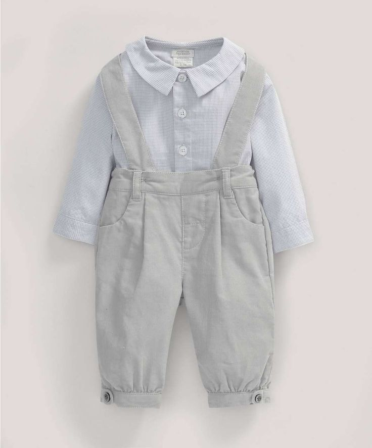Boys Welcome to the World Two Piece Checked Shirt and Needle Cord Bloomer Dungaree Set - NEW Arrivals - Mamas & Papas