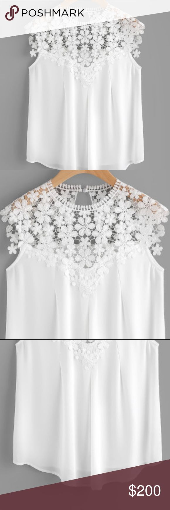Keyhole Back Daisy Lace Shoulder Shell Top Material : 100% Polyester Color : White Type : Sheer, Tunic Decoration : Button Sleeve Length : Sleeveless Fabric : Fabric has no stretch Season : Summer Shoulder(cm) : XS:41cm, S:42cm, M:43cm, L:44cm Bust(cm) : XS:89cm, S:93cm, M:97cm, L:101cm Waist Size(cm) : XS:88cm, S:92cm, M:96cm, L:100cm Length(cm) : XS:67cm, S:68cm, M:69cm, L:70cm Size Available : XS,S,M, Orders May take longer than Posh standards for shipping. If we do not have an item in…