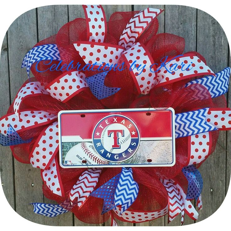 Let's find this Rangers wreath a home today.  Not your team? Let me make it for you, order today.   #wreaths #wreath #celebrationsbyKari #texas #rangers #TexasRangers #mlb #baseballwreath #fortworth #everman #foresthill #dallas #grandprairie #joshua #crowley #smallbusiness #burleson #arlington