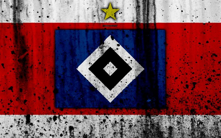 Download wallpapers FC Hamburger SV, 4k, logo, Bundesliga, stone texture, HSV, Germany, Hamburger SV, soccer, football club, Hamburger SV FC