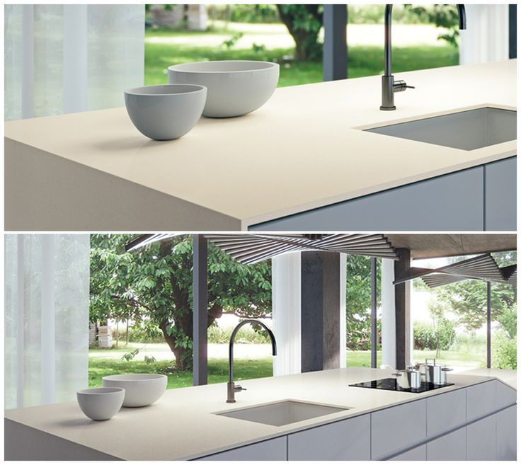 Kitchen countertop featuring 4001 Fresh Concrete - with the ease of Caesarstone care and maintenance.